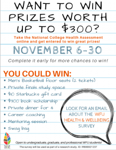 WFU Health and Wellbeing survey flyer