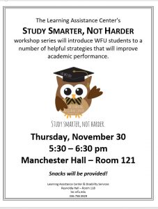 Study Smarter Not Harder program - November 30, 2017 5:30-6:30 pm in Manchester Hall Room 121