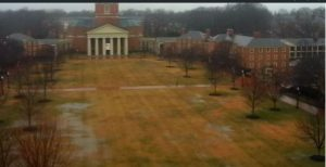 A wet and rainy day on campus