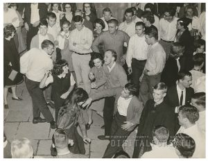 Wake Forest students dancing in defiance of a ban on campus dancing, 1966.