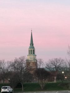 Pink sunrise over Wait Chapel