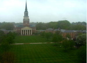 Wet view of campus from the Quad Cam