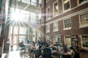 Wake Forest students work in the atrium of the Z. Smith Reynolds Library late in the afternoon.