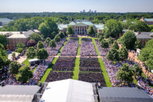 Wake Forest hosts its 2017 Commencement Ceremonies on Hearn Plaza on Monday, May 15, 2017. An aerial view of the ceremony from Wait Chapel.