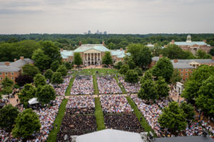 Wake Forest University holds its Commencement Ceremony on Hearn Plaza on Monday, May 21, 2018. An aerial view of the ceremony from Wait Chapel.