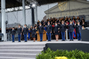 Wake Forest University holds its Commencement Ceremony on Hearn Plaza on Monday, May 21, 2018. Lieutenant Colonel Melissa Ringhisen, Chair of the Department of Military Science, performs the ROTC commissioning ceremony.