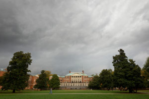 Wake Forest students walk across campus during a severe thunderstorm on Wednesday, October 27, 2010.