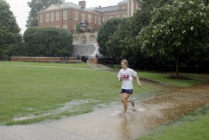 Rain on WFU campus, August 26, 2002. WFU won, 4-1. ©2002 Wake Forest University, Office of Creative Services. Photo by Ken Bennett.