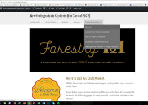 New Students website showing Parents' and Families' section