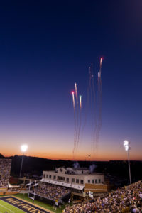 Wake Forest celebrates Homecoming at BB&T Field with a football game against Navy on Saturday, October 9, 2010. The Deacons celebrate each score with fireworks.