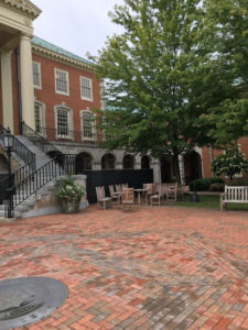 Summer maintenance work being done on Reynolda Hall