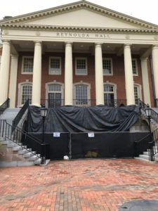 Reynolda Hall is fenced off for summer improvement projects