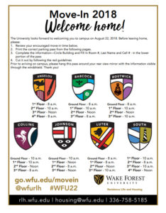 Suggested move-in times for first-year ('22) students