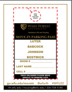 Move-In parking pass for Bostwick, Johnson, Babcock, and Luter halls
