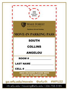Move In Parking Pass for South, Angelou, and Collins halls
