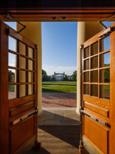 A view through the front doors and columns of Wait Chapel, on the campus of Wake Forest University, Friday, August 31, 2018.