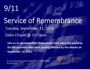 9/11 service of remembrance flyer