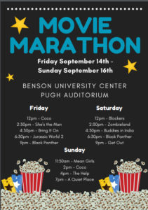 Movie Marathon poster for 9/14-16/18