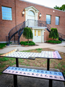 "Salem Hall, home of the department of chemistry, on the campus of Wake Forest University, Friday, September 7, 2018. The student sculpture ""Periodic Table"" is installed outside Salem."