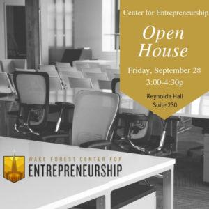 Center For Entrepreneurship Open House flyer