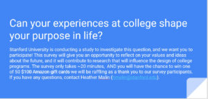 Survey about college experiences shaping your purpose in life