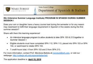 ISLI summer institute in Spanish