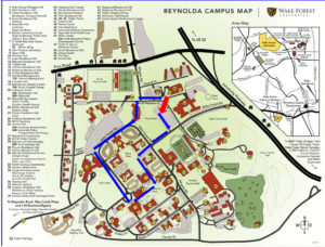 Path I took around campus to write today's Daily Deac blog