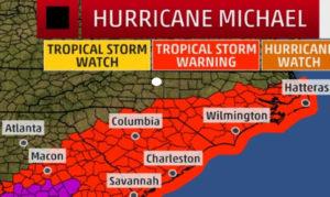 Hurricane Michael map around 1 pm October 10th