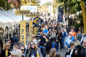 Wake Forest alumni and friends enjoy the official tailgate party on Baity Street outside BB&T Field during Homecoming 2018 on Saturday, November 3, 2018.