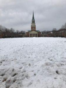 a snowy Quad
