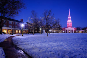Heavy snow blankets the campus of Wake Forest University on Tuesday, December 11, 2018.