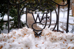 Snow still blankets the Wake Forest campus days after a major winter storm, on Thursday, December 13, 2018.