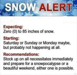 a satirical look at the way we predict snow in NC