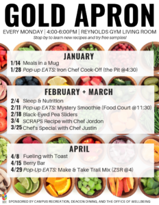 Gold Apron events each monday