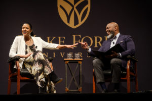 Tony award winning actress Renee Elise Goldsberry talks with Wake Forest School of Divinity professor Derek Hicks on stage at Wait Chapel on Friday, February 1, 2019 as part of the Arts of Leading conference.