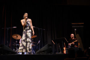 Tony award winning actress Renee Elise Goldsberry performs on stage at Wait Chapel on Friday, February 1, 2019 as part of the Arts of Leading conference.