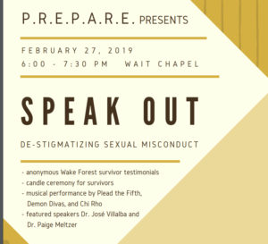 FLyer for Speak Out, February 27 6-7:30 pm in Wait Chapel