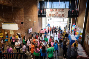 Wake Forest students dance in the Sutton Center to raise money for cancer research in the annual Wake n Shake event on Saturday, March 23, 2019.