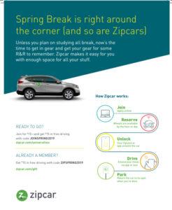 Zipcar promotion spring 2019