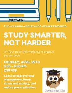 Study Smarter, Not Harder - seminar on April 29