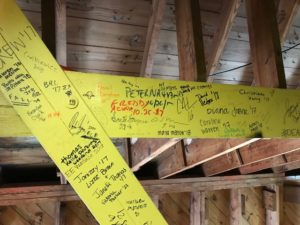 student signatures on the bell tower level