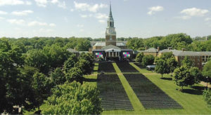 Quad being prepared for Commencement