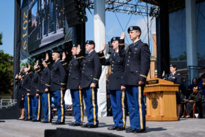 Wake Forest University holds its Commencement Ceremony on Hearn Plaza on Monday, May 20, 2019. ROTC cadets re-enact their commissioning ceremony on the stage.