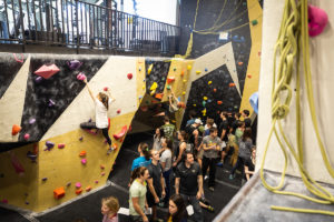 Students compete in the annual WFU Climbing Comp at the Reynold's Gym Rock Wall on  Saturday, March 2, 2019.