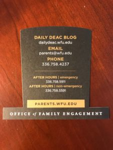 Office of Family Engagement contact card with office phone, email, and web address