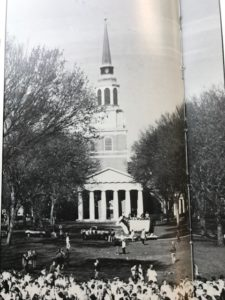 Old Howler yearbook scan of the Quad trees in their glory days