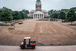 Renovations begin on Hearn Plaza as workers remove all the grass in preparation for drainage improvements and new grass, on the campus of Wake Forest University, Wednesday, June 5, 2019.