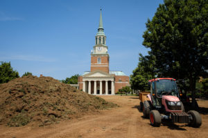 Renovations begin on Hearn Plaza as workers remove all the grass in preparation for drainage improvements and new grass, on the campus of Wake Forest University, Tuesday, June 4, 2019.