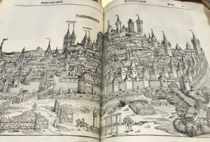 Rare old book - woodcut of a city