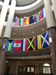 flags representing the home countries of our international students